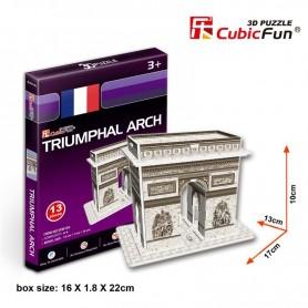 Puzzle 3D Arco de Triunfo de París Cubic Fun 13 Piezas