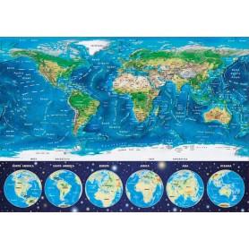 Puzzles Educa Mapamundi Físico Neón 1000 Piezas