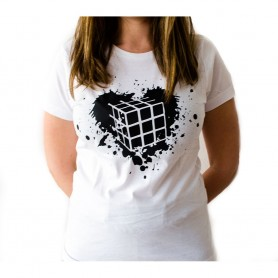 Camiseta Chica Cubo de Rubik Corazón